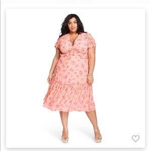 Love Shack Fancy Target Fluer dress in pink melon